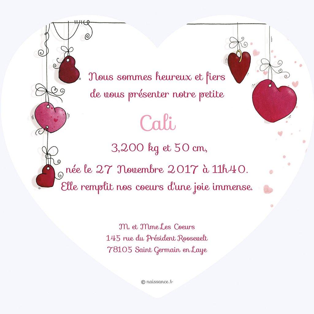 Faire-part de Naissance Mon Coeur gratuit