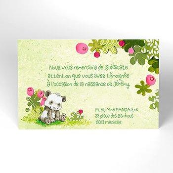 Carte de Remerciement Naissance Famille Panda garçon
