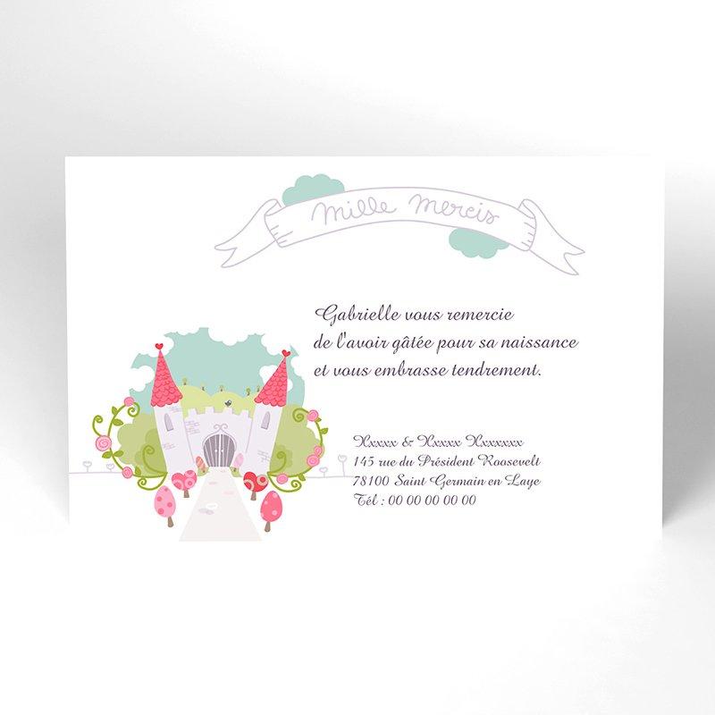 Carte de Remerciement Naissance Petite Princesse