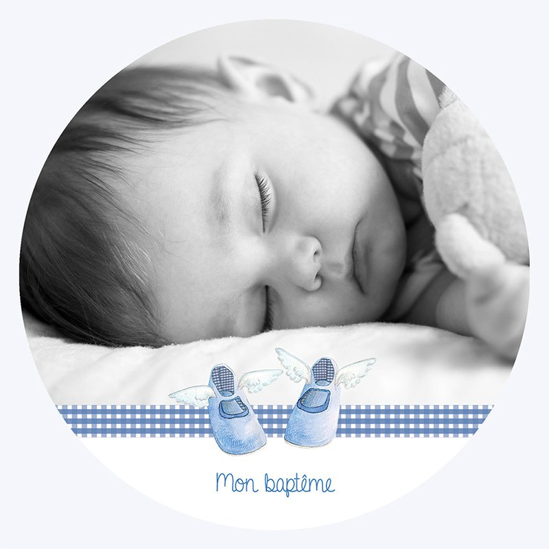 Faire-part de Baptême Petits Chaussons pas cher