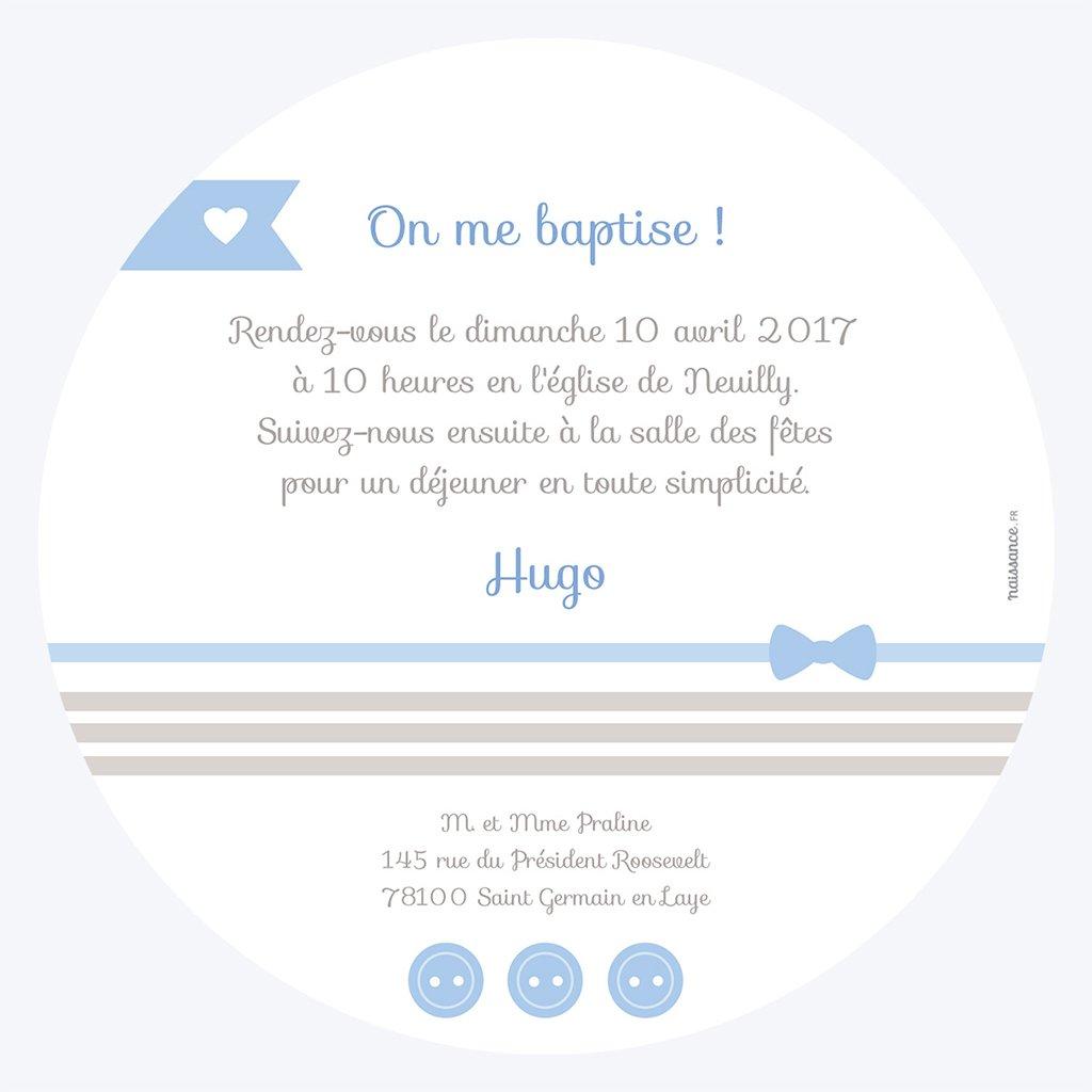 Faire-part de Baptême Praline Baptême garçon gratuit