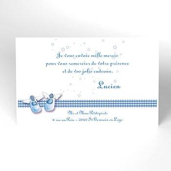 Carte de Remerciement Baptême Petits Chaussons