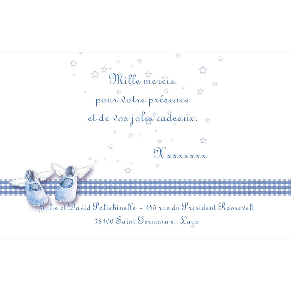 Carte de Remerciement Baptême Petits Chaussons pas cher