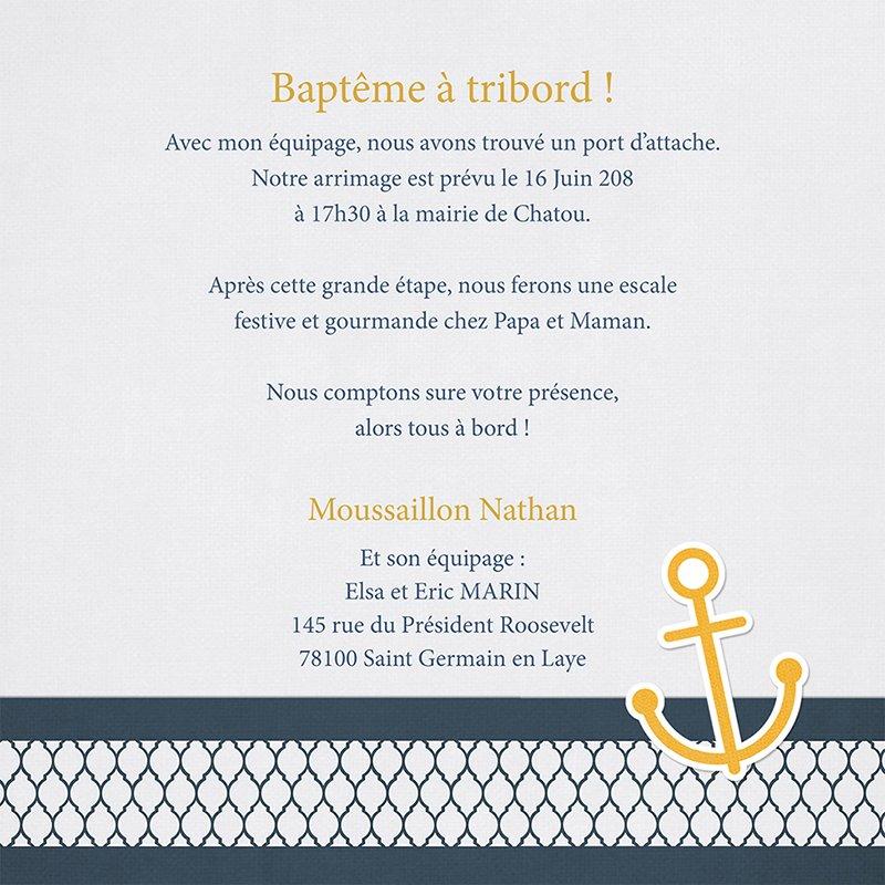 Faire-part de Baptême Marin chic Baptême gratuit