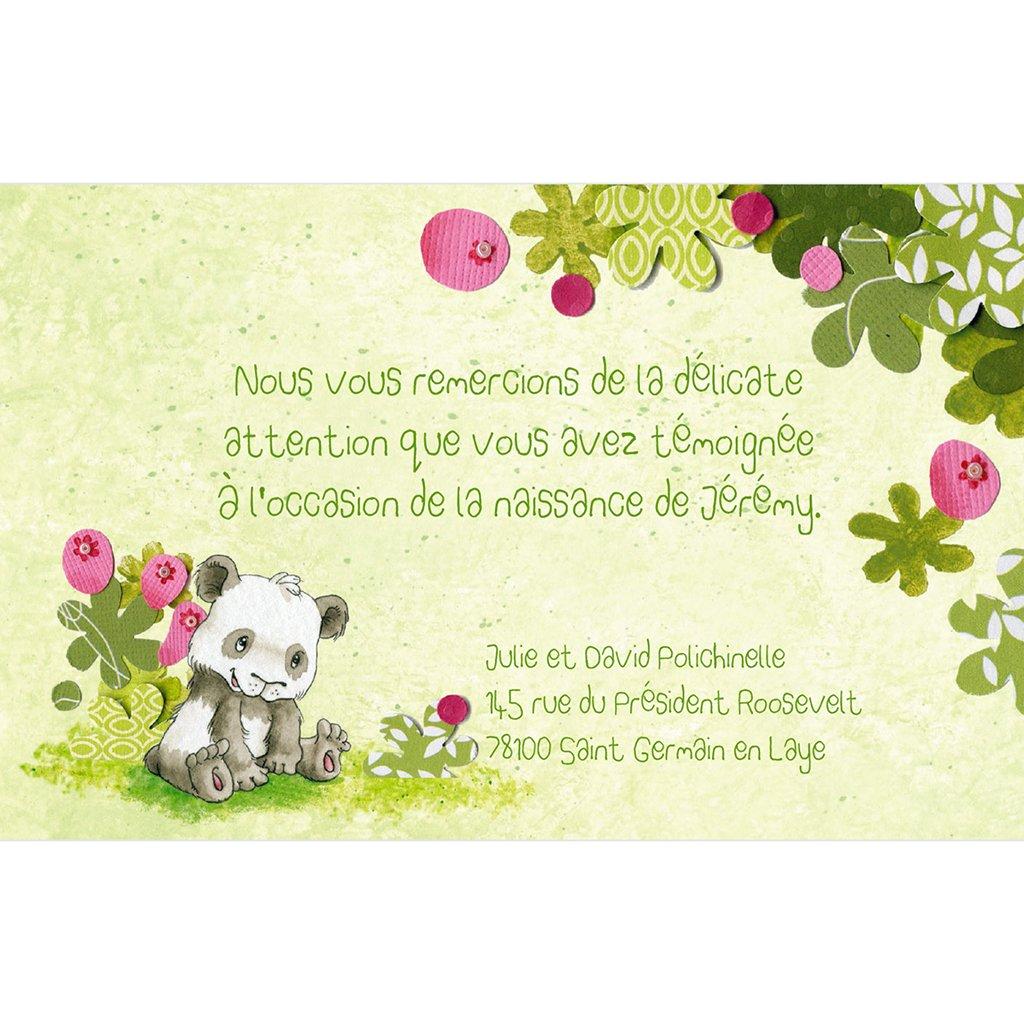 Carte de Remerciement Naissance Famille Panda garçon pas cher