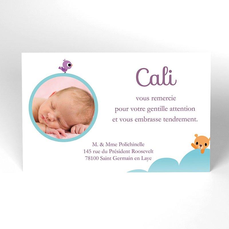Carte de Remerciement Naissance Montgolfière fille