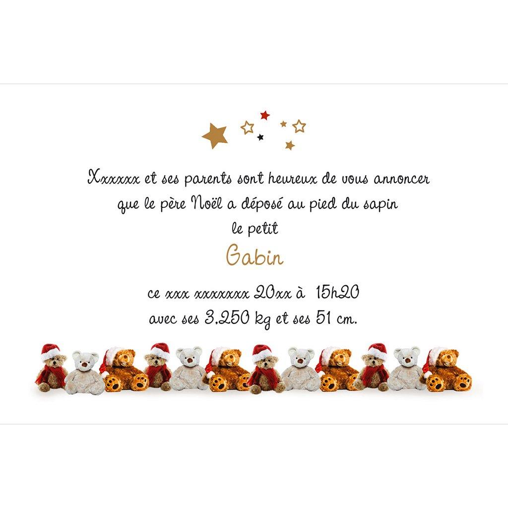Faire-part de Naissance Ourson de Noël