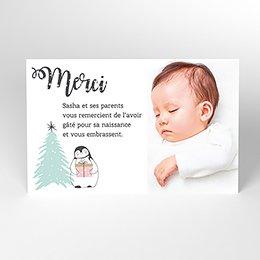 Carte de Remerciement Naissance Noël Pastel