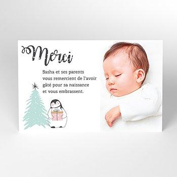Carte de Remerciement Naissance Noël Pastel pas cher