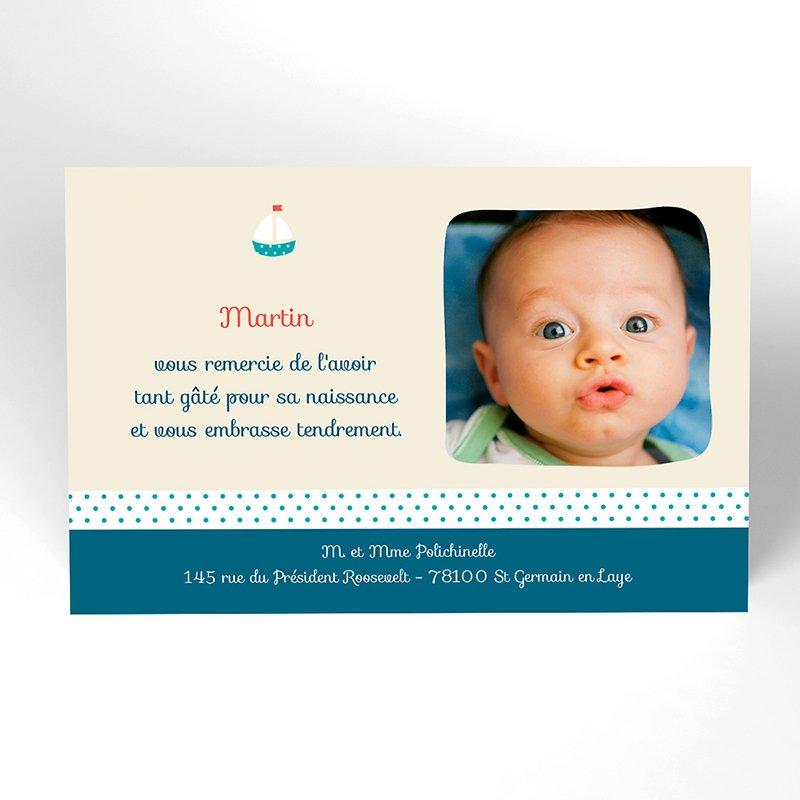 Carte de Remerciement Naissance Marin d'eau douce
