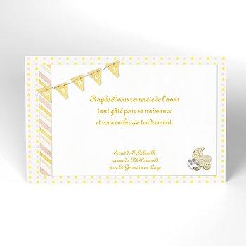 Carte de Remerciement Naissance Bouton d'Or personnalisé