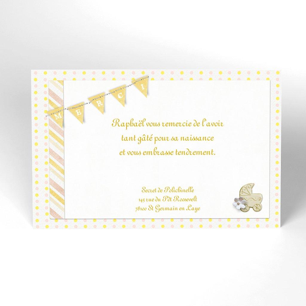 Carte de Remerciement Naissance Bouton d'Or