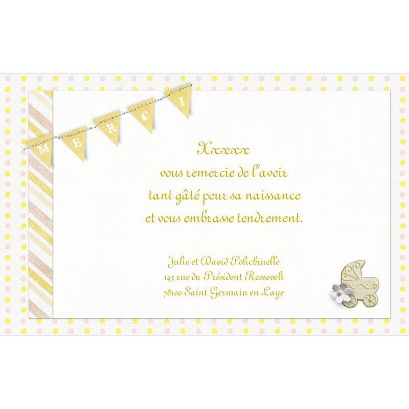 Carte de Remerciement Naissance Bouton d'Or pas cher