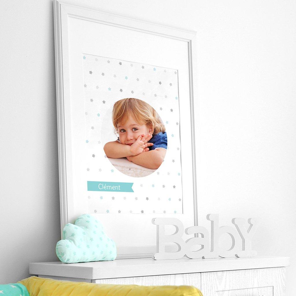 Affiche Déco Bébé Etoiles baptême Garçon pas cher