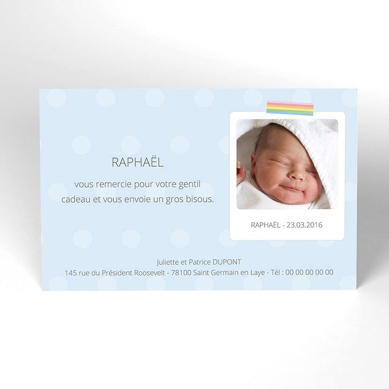 Carte de Remerciement Naissance Polaroid