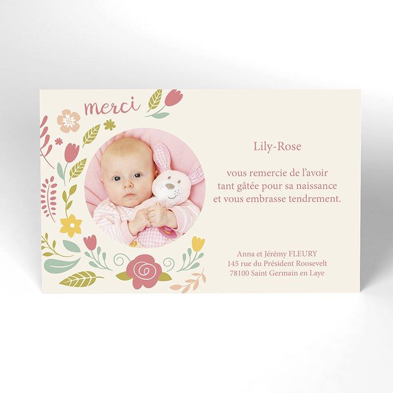 Carte de Remerciement Naissance Petite fleur