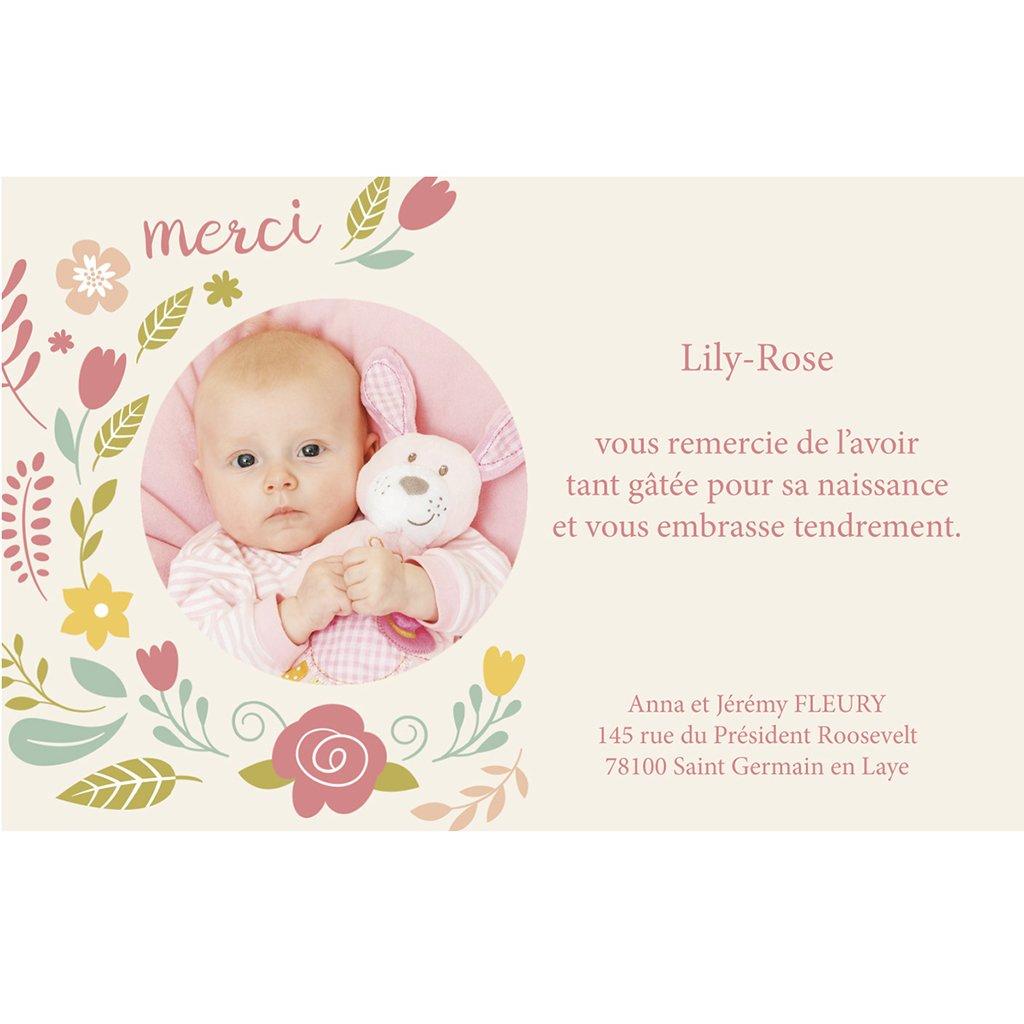 Carte de Remerciement Naissance Petite fleur pas cher