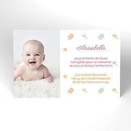Carte de Remerciement Naissance Sorbet Pastel
