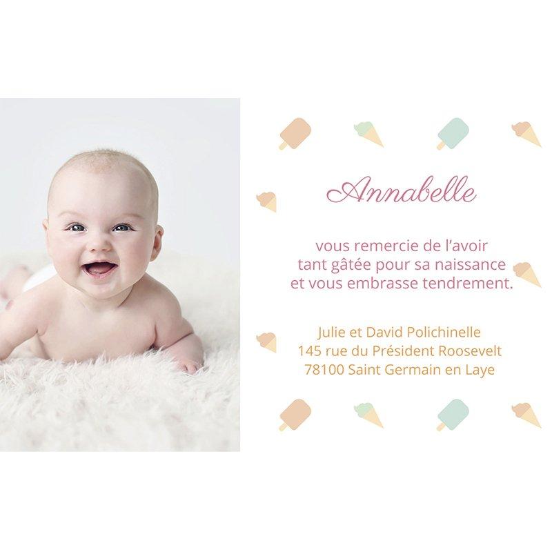 Carte de Remerciement Naissance Sorbet Pastel pas cher