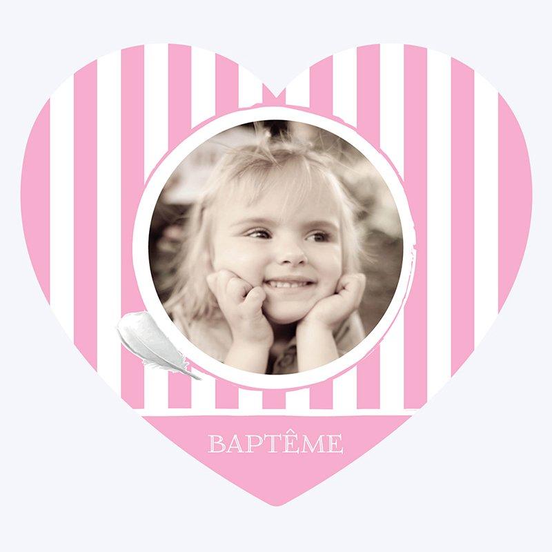 Faire-part de Baptême Cosy rose Baptême pas cher