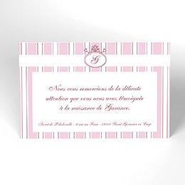 Carte de Remerciement Naissance Ruban rose