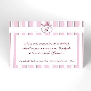 Carte de Remerciement Naissance Ruban rose original