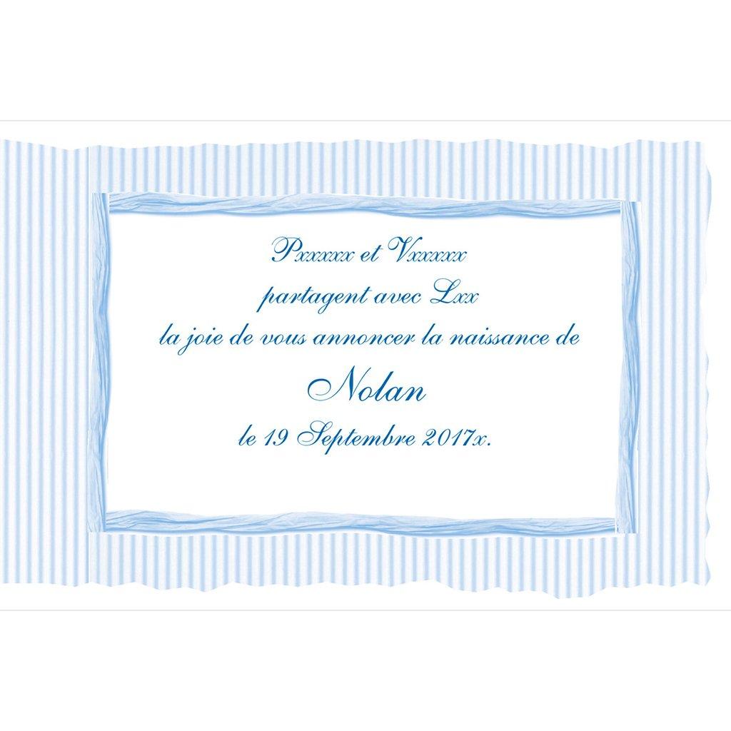 Faire-part de Naissance Raphia Pastel bleu