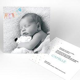 Carte de Remerciement Naissance Guirlande Merci pastel