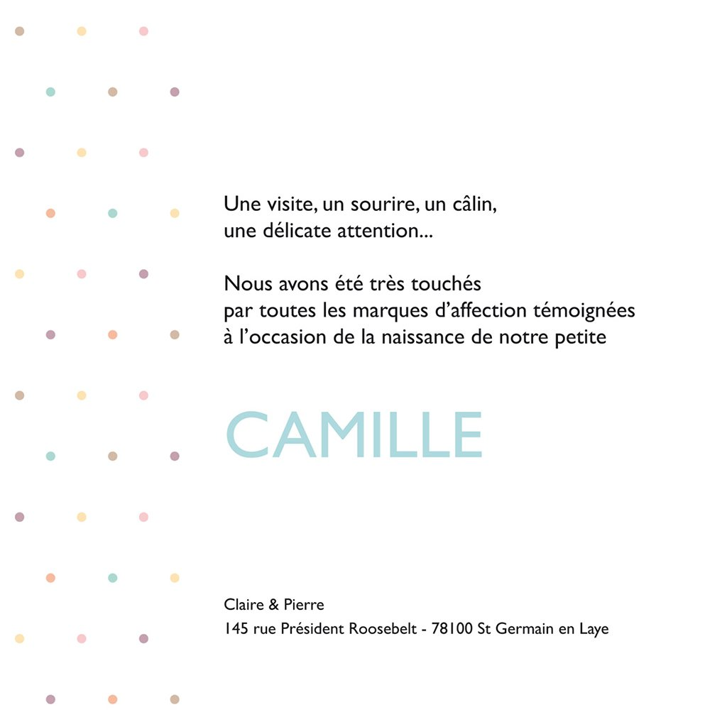 Carte de Remerciement Naissance Guirlande Merci pastel gratuit