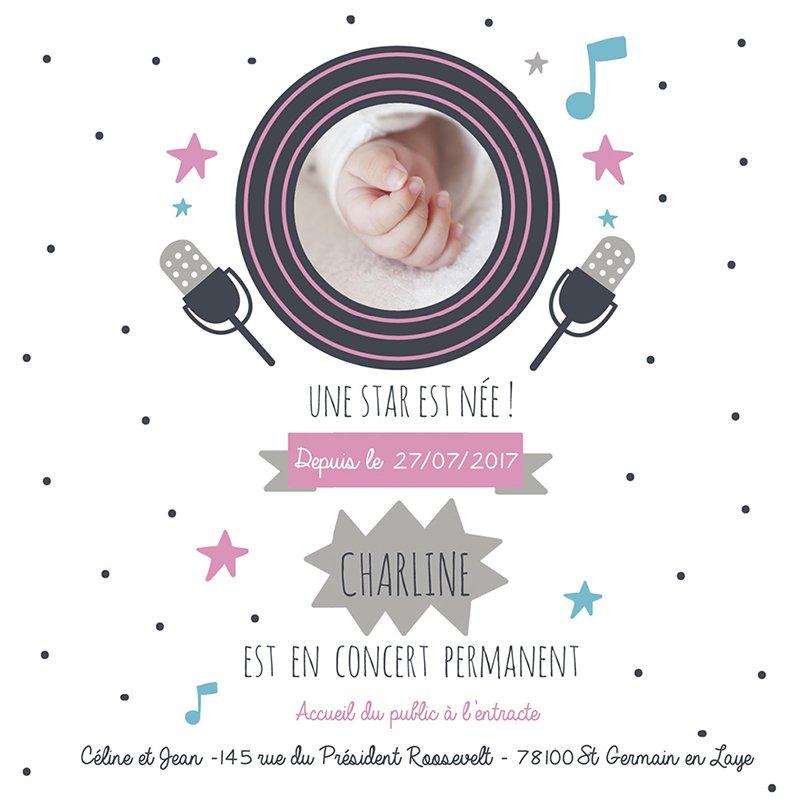 Faire-part de Naissance Musique Star fille gratuit