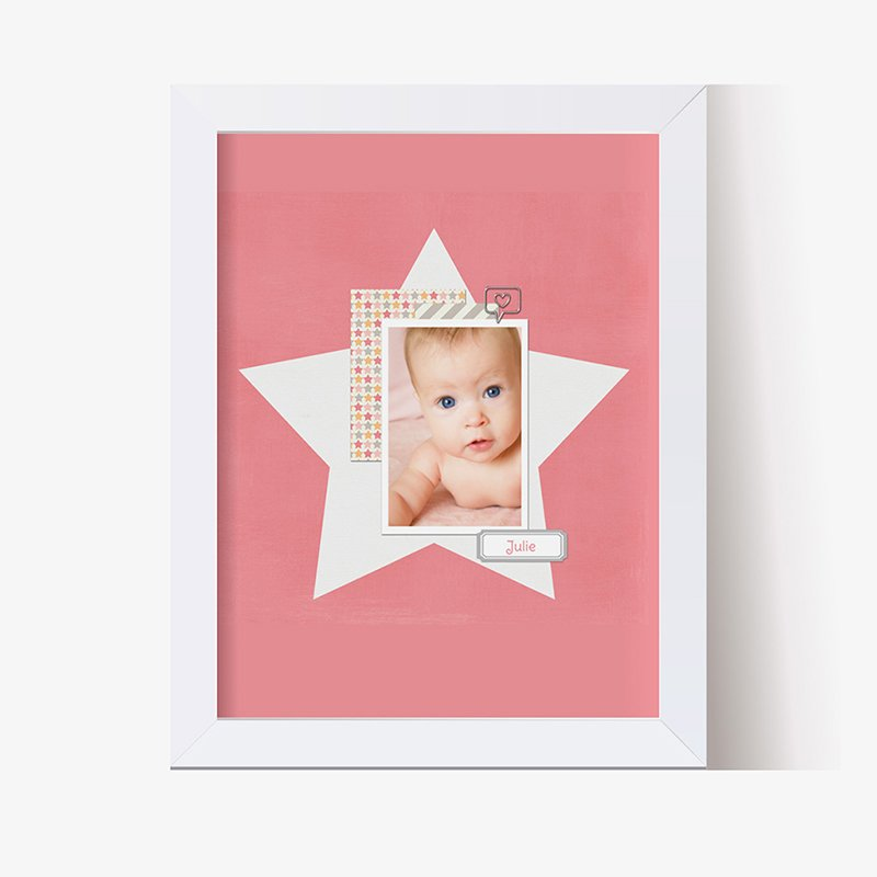 Affiche Déco Bébé Etoile Pastel Fille
