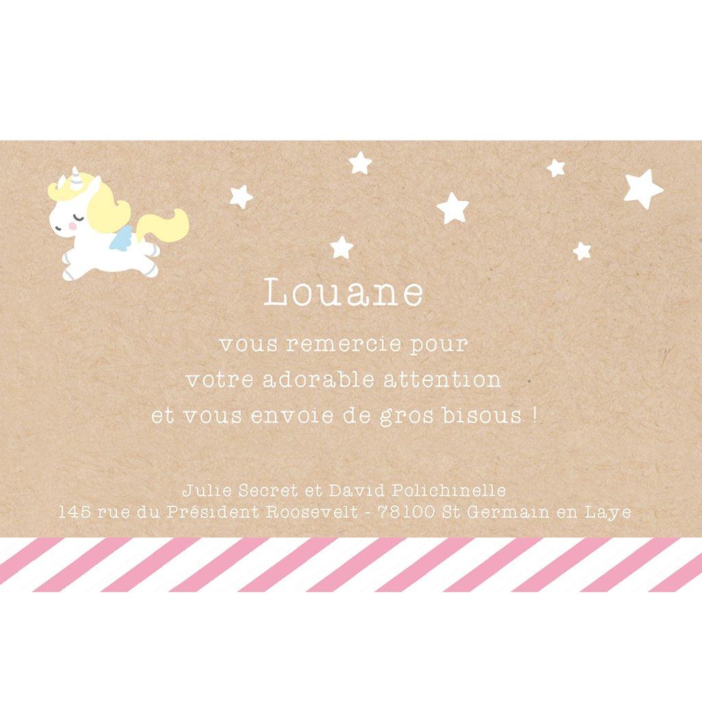 Carte de Remerciement Naissance Petite Licorne pas cher