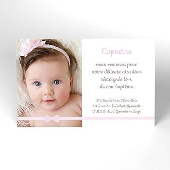 Carte de Remerciement Baptême Praline Baptême fille