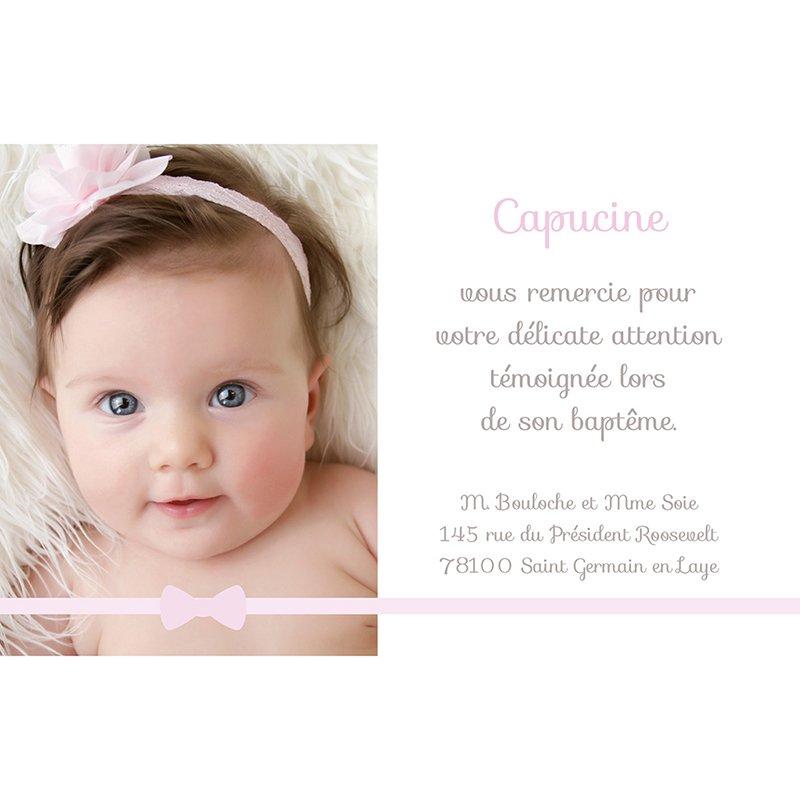 Carte de Remerciement Baptême Praline Baptême fille pas cher