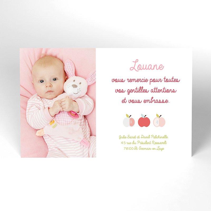 Carte de Remerciement Naissance Pomme d'amour