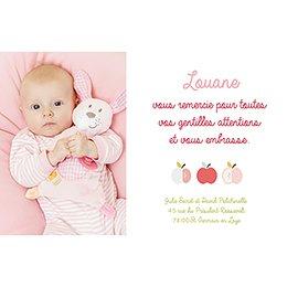 Carte de Remerciement Naissance Pomme d'amour pas cher