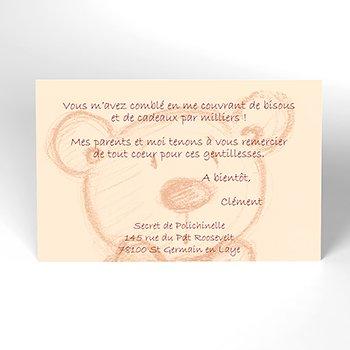 Carte de Remerciement Naissance Teddy