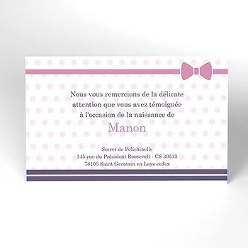 Carte de Remerciement Naissance Petite Marinette pas cher