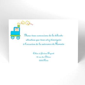 Carte de Remerciement Naissance Le Train personnalisé