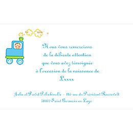 Carte de Remerciement Naissance Le Train pas cher