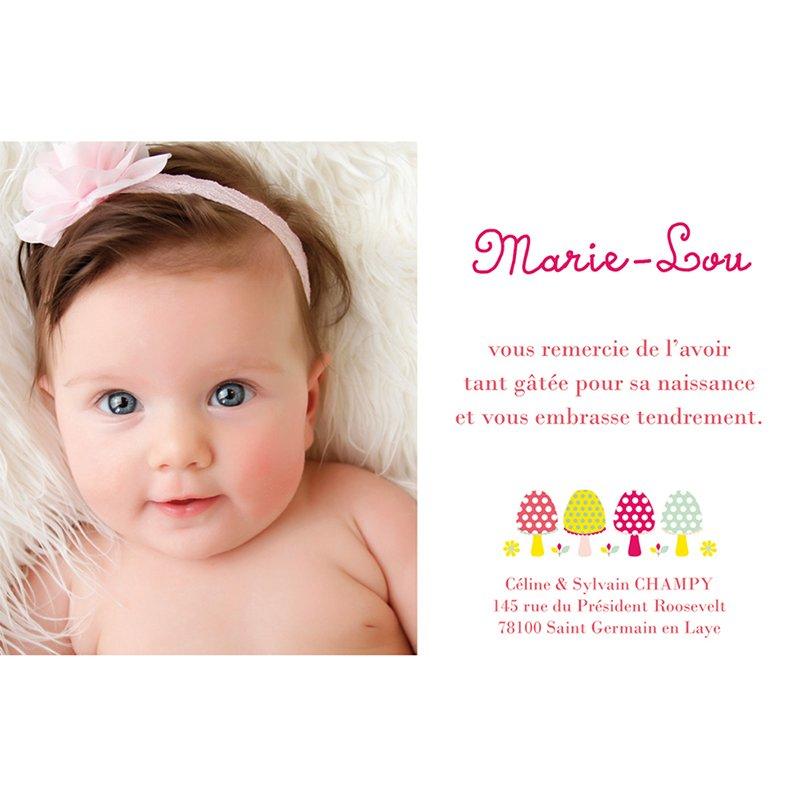 Carte de Remerciement Naissance Champinou Fille pas cher