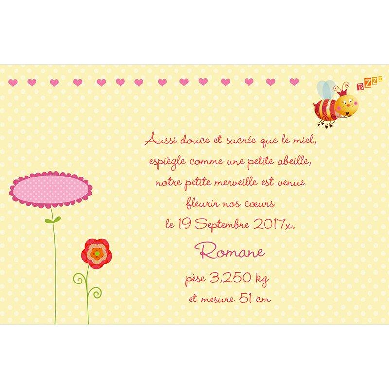 Faire-part de Naissance Honey rose gratuit