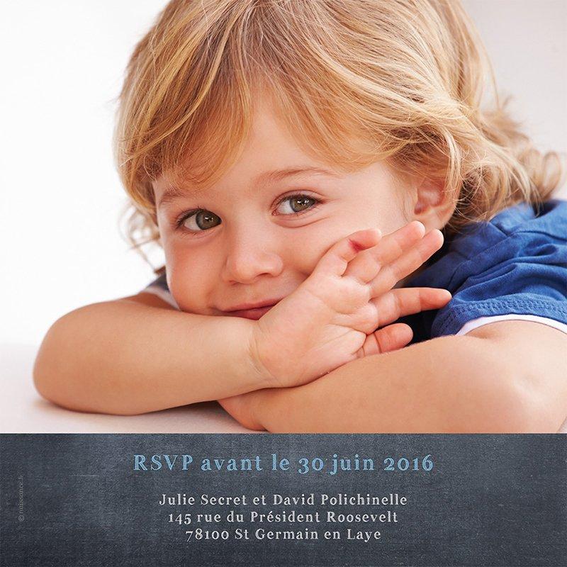 Faire-part de Baptême Ardoise baptême garçon gratuit