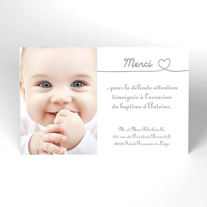 Carte de Remerciement Baptême Bébé d'amour baptême