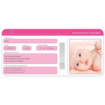 Faire-part de Naissance Billet d'Avion rose original