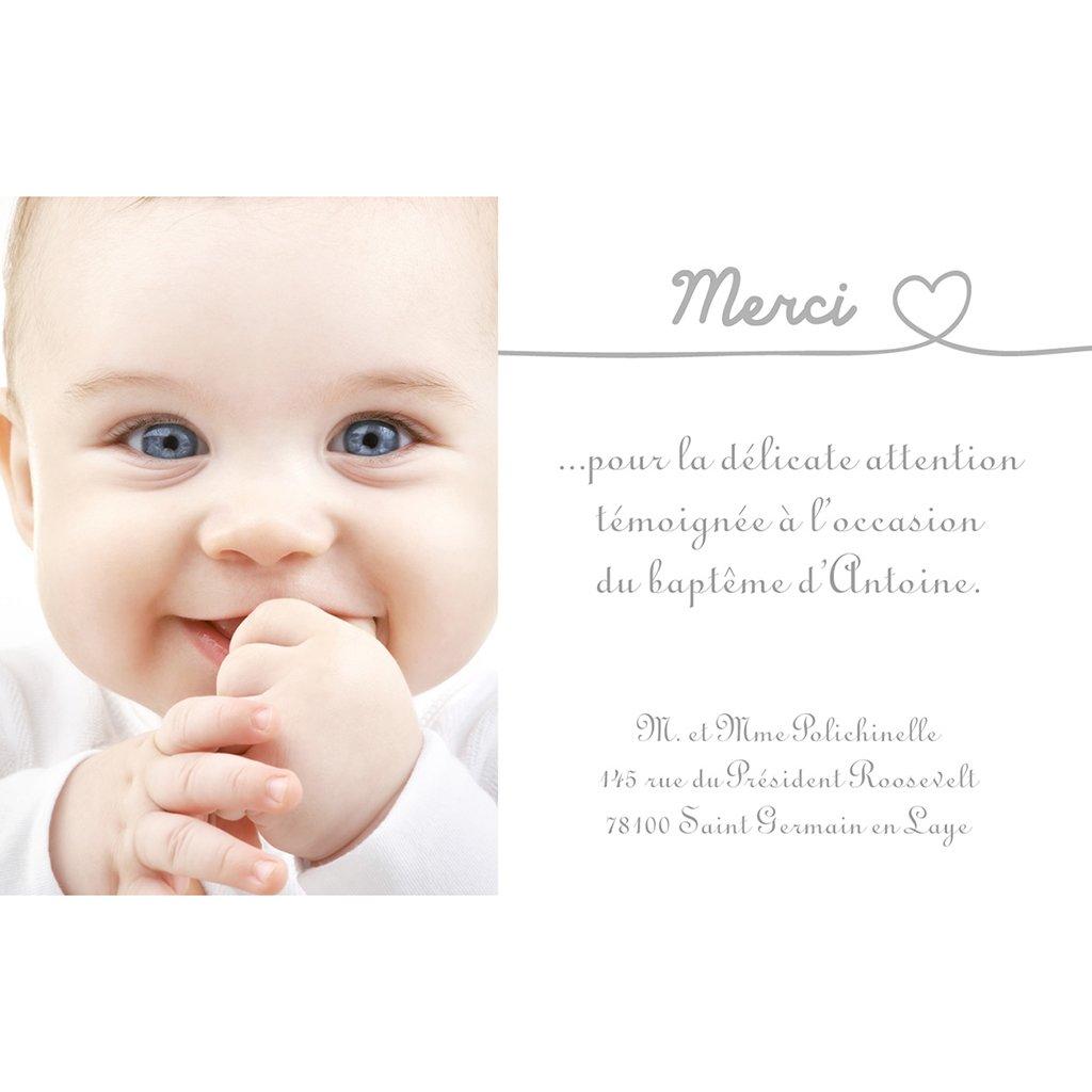 Carte de Remerciement Baptême Bébé d'amour baptême pas cher