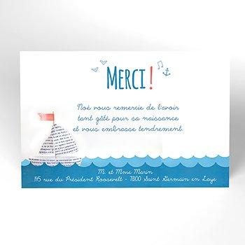 Carte de Remerciement Naissance Petit Navire pas cher