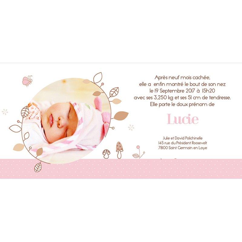 Faire-part de Naissance Le Petit Faon rose gratuit
