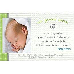 Carte de Remerciement Naissance Babyfoot pas cher