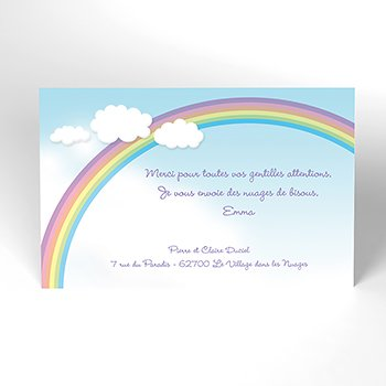 Carte de Remerciement Naissance Ciel original